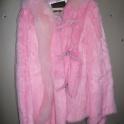 Шуба из кролика, размер 44, натуральная, розовый цвет.