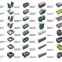 Стеновой рядовой камень, матрица и пуансон.