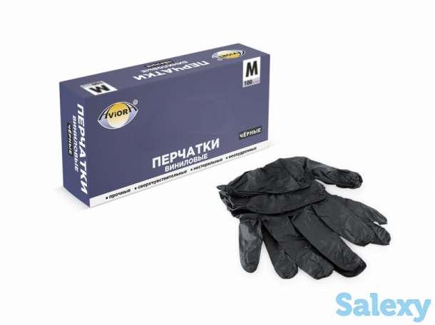 Чёрные виниловые перчатки, размер M, фотография 4