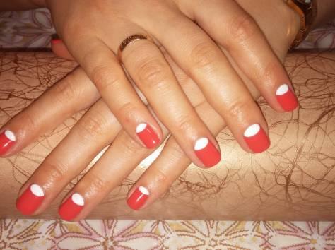 Покрытие ногтей гель-лаком, аппаратный маникюр, парафинотерапия, фотография 8