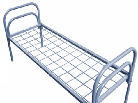 Двухъярусные железные кровати, для казарм, металлические кровати с ДСП спинками, кровати для бытовок, кровати оптом., фотография 2