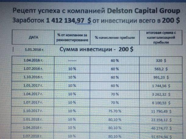 ДЕЛСТОН КАПИТАЛ Выгодный депозит с прибылью от 60 до 80%, фотография 4