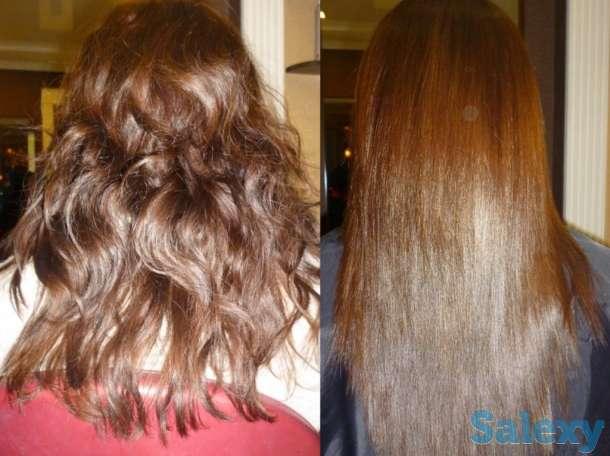 кератиновое выпрямление волос, бразильский состав, любая длина волос 10 000 тыс тг.  ботокс, полировка волос, ламинирова, фотография 2