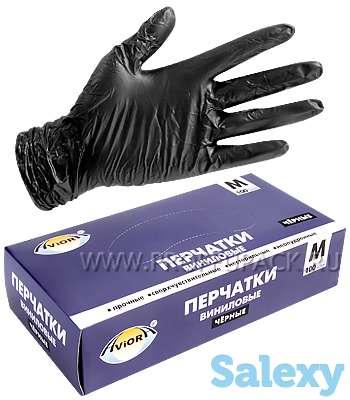 Чёрные виниловые перчатки, размер M, фотография 2