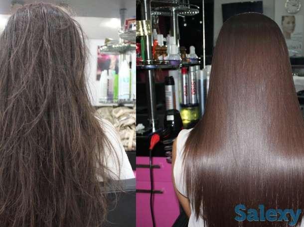 кератиновое выпрямление волос, бразильский состав, любая длина волос 10 000 тыс тг.  ботокс, полировка волос, ламинирова, фотография 3