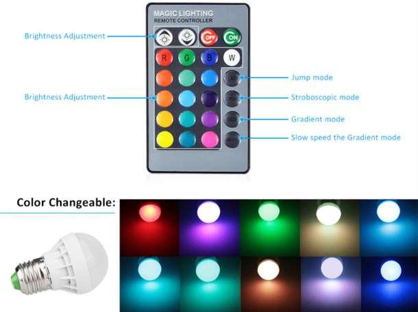 Продам Многоцветную светодиодную LED  лампу и пультом., фотография 3